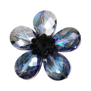 Aeravida Blue Glass Daisy Prism Pin-Brooch (Thailand)