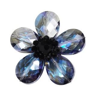 Handmade Aeravida Blue Glass Daisy Prism Pin-Brooch (Thailand)