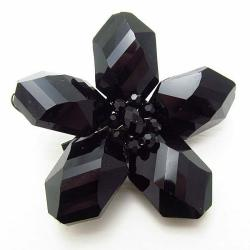 Beautiful Black Daisy Glass Floral Prism Pin-Brooch (Thailand)