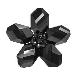 Handmade Beautiful Black Daisy Glass Floral Prism Pin-Brooch (Thailand)