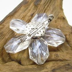 Handmade Beautiful Clear Daisy Glass Floral Prism Pin-Brooch (Thailand)