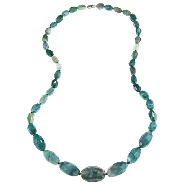 Green Agate Hand-knotted 36-inch Necklace