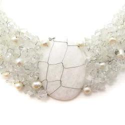 Handmade Cluster Delight White Granite Pendant Clear Quartz Beaded Necklace (Philippines) - Thumbnail 1