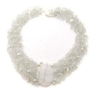Handmade Cluster Delight White Granite Pendant Clear Quartz Beaded Necklace (Philippines)
