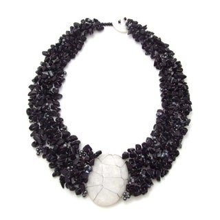 Handmade Cluster Delight White Granite Pendant Black Onyx Beaded Necklace (Philippines)