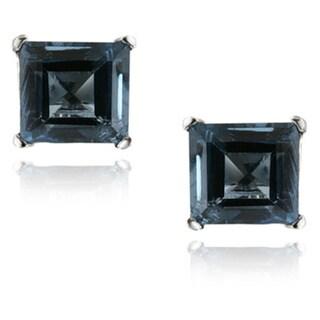 Link to Glitzy Rocks Silver Blue Topaz 7-mm Square Stud Earrings (4.3ct TGW) Similar Items in Earrings