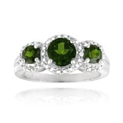Glitzy Rocks Sterling Silver Chrome Diopside and Diamond Accent Ring