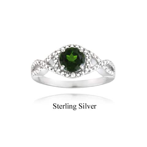 Glitzy Rocks Sterling Silver Green Chrome Diopside and Diamond Accent Ring