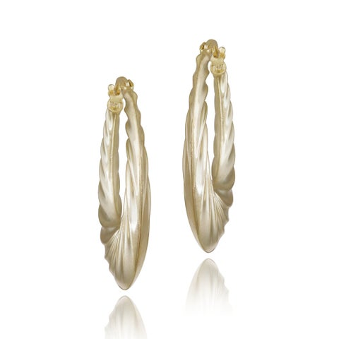 Mondevio 18k Yellow Gold Over Silver Corrugated Twist Hoop Earrings