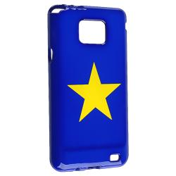 Blue/ Yellow Star TPU Rubber Skin Case for Samsung Galaxy S II i9100