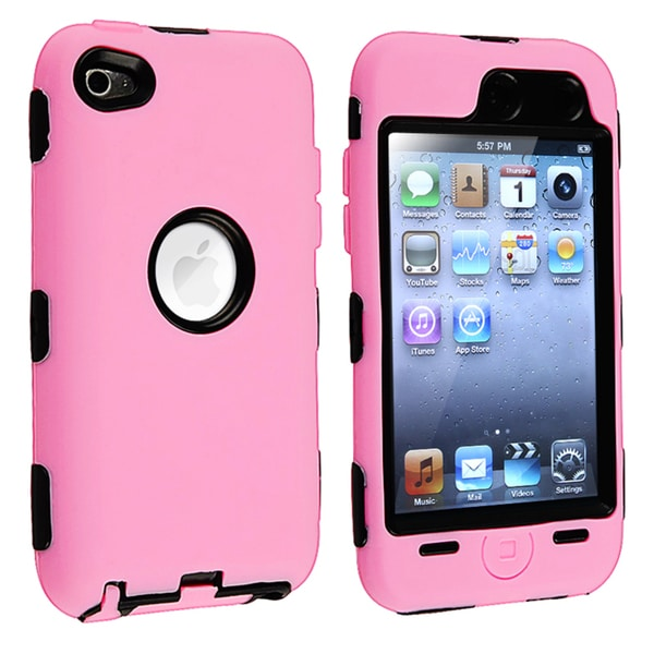 INSTEN Shock-Absorbent Black/ Pink Hybrid iPod Case Cover for Apple iPod Touch 4th Generation