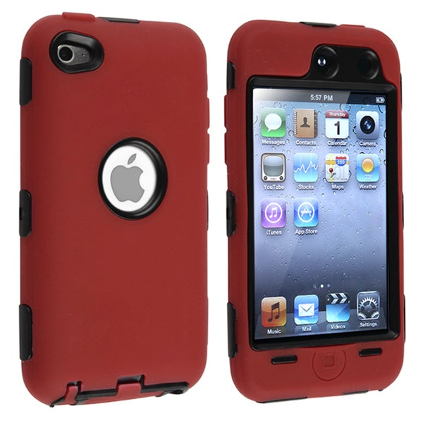 INSTEN Black/ Red Hybrid iPod Case Cover for Apple iPod Touch 4th Generation