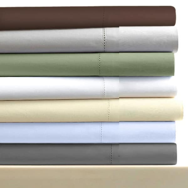 Egyptian Cotton Sateen 600 Thread Count Solid Pillowcases (Set of 2)