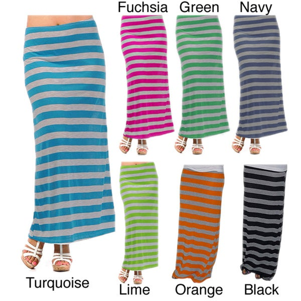 Tabeez Women's Chunky Stripe Stretch Maxi Skirt