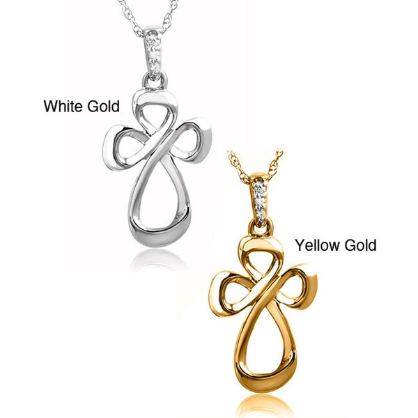 Bridal Symphony 10k White Gold Diamond Accent Cross Necklace (I-J, I1-I2)