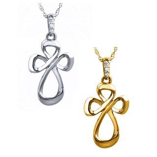 10k White Gold Diamond Accent Cross Necklace