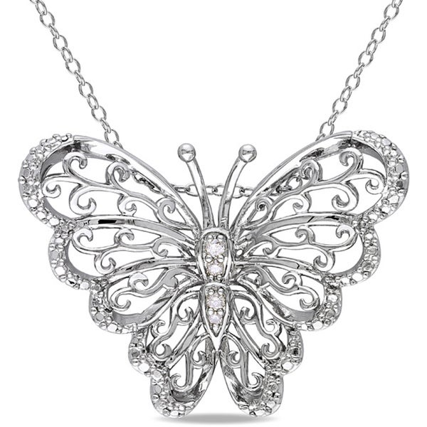 Sterling Silver Diamond Accent Mom Butterfly Necklace