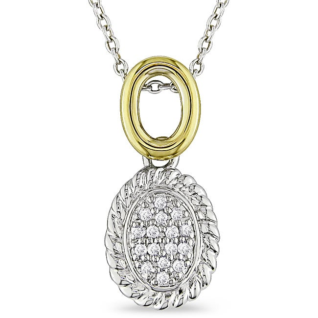 Miadora 10k Yellow Gold and Silver Two-Tone 1/6ct TDW Diamond Necklace