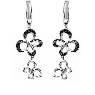 Bridal Symphony Sterling Silver 1/4ct Black Diamond Butterfly Earrings