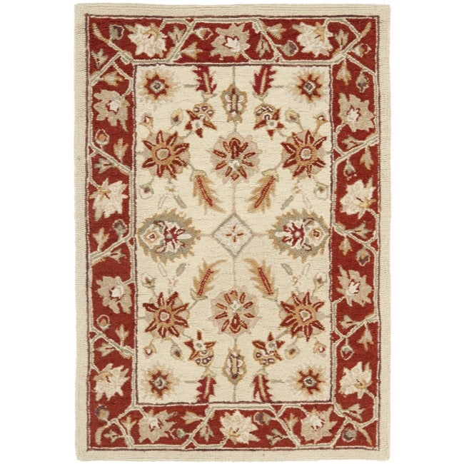 Safavieh Hand-hooked Oushak Ivory/ Rust Wool Rug (2' x 3')