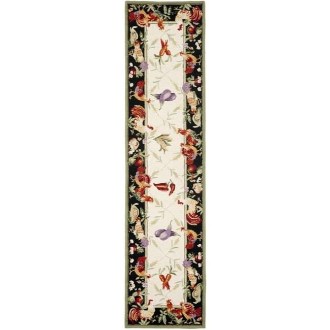 Safavieh Hand-hooked Roosters Ivory/ Black Wool Rug (2'6 ...