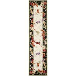 Safavieh Hand-hooked Roosters Ivory/ Black Wool Rug (2'6 x 10')