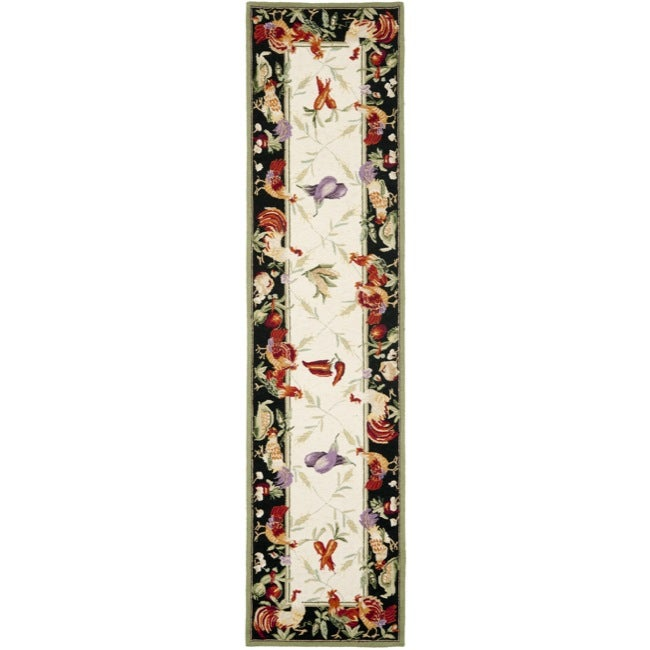 "Safavieh Hand-hooked Roosters Ivory/ Black Wool Rug - 2'6"" x 12'"