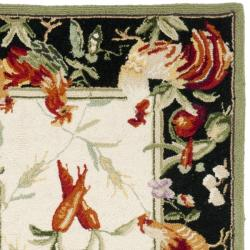 Safavieh Hand-hooked Roosters Ivory/ Black Wool Rug (2'6 x 12') - Thumbnail 1