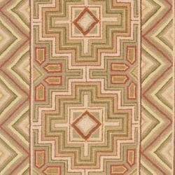 Safavieh Hand-hooked Maze Beige Wool Rug (2'6 x 8')