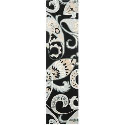Safavieh Handmade Chatham Gardens Black New Zealand Wool Rug (2'3 x 9')