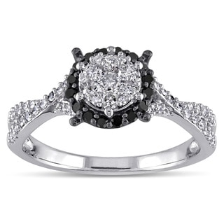 Miadora 10k White Gold 1/2ct TDW Black and White Diamond Composite Halo Split Shank Ring (G-H, I2-I3)