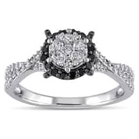 Miadora 10k White Gold 1/2ct TDW Black and White Diamond Composite Halo Split Shank Ring