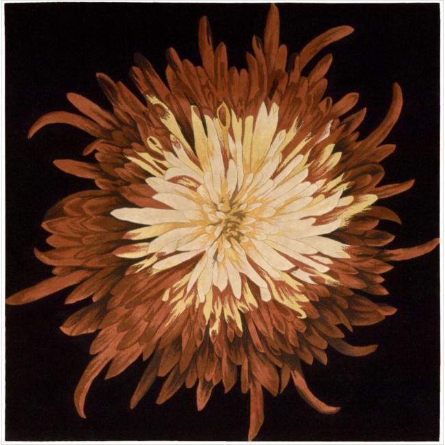 Nourison Hand-tufted Black/Red Bloom Rug (5' x 5')