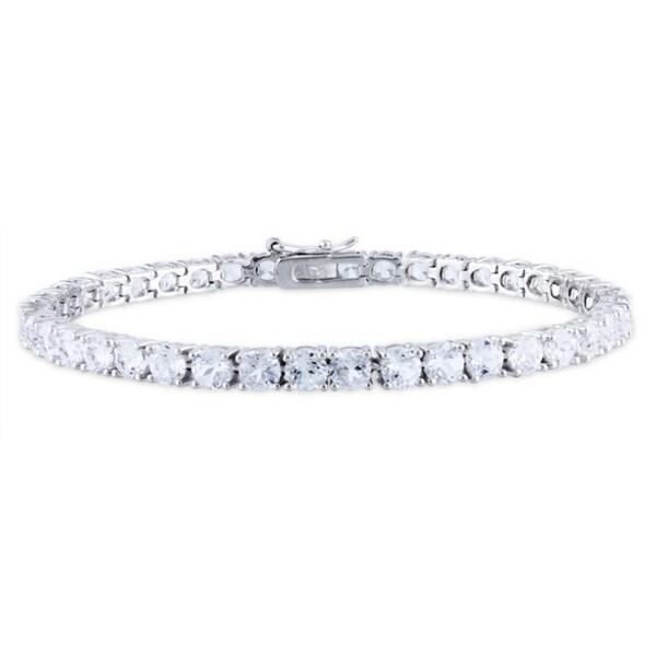 Miadora Sterling Silver 14 1/4ct TGW White Sapphire 7.25-inch Tennis Bracelet