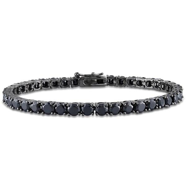 Miadora Sterling Silver 14 1/4ct TGW Black Spinel 7-inch Tennis Bracelet