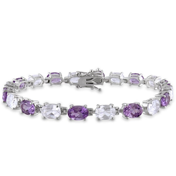 Miadora Sterling Silver 19 3/4ct TGW Amethyst and Created White Sapphire Bracelet
