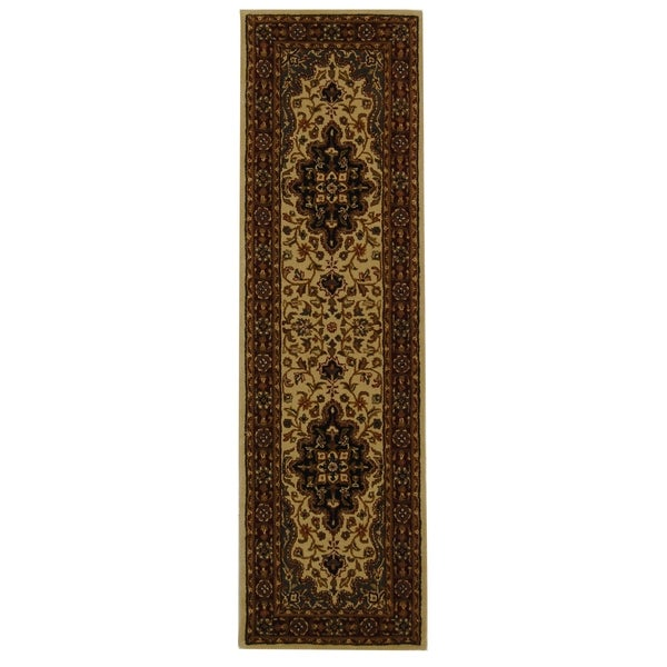 "Safavieh Handmade Heritage Traditional Tabriz Ivory/ Red Wool Runner Rug - 2'3"" x 8'"