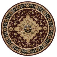 Safavieh Handmade Heritage Traditional Tabriz Red/ Black Wool Rug - 3'6 Round