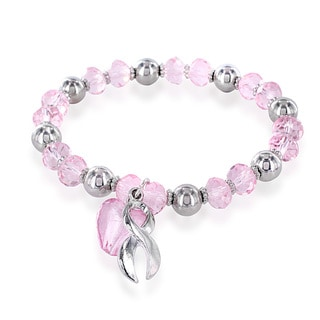 Stainless Steel Pink Crystal Heart Breast Cancer Awareness Bracelet