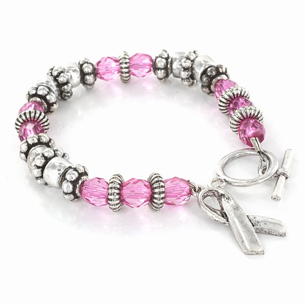 West Coast Jewelry Stainless Steel Pink Crystal Breast Cancer Awareness Bracelet