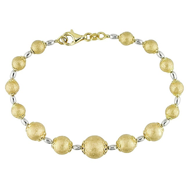 Miadora 14k Two-tone Gold Graduated Ball 7.5-inch Bracelet