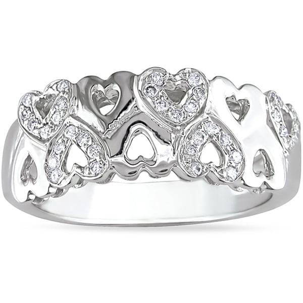 Miadora 14k White Gold 1/5ct TDW Diamond Heart Ring