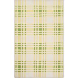 Hand-woven Green High Kite Wool Rug (5' x 8')