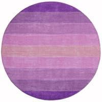 Hand-tufted Purple Stripe Wool Rug - 8' x 8'