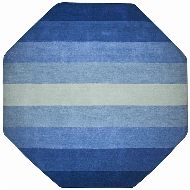 Hand Tufted Blue Stripe Wool Rug 8 Octagon Free