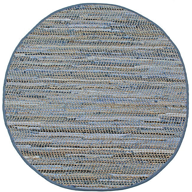 Hand-woven Blue Jeans Denim Rug (8' Round) - Thumbnail 0