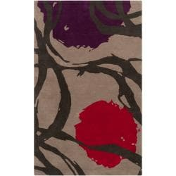 Hand-tufted Tan Opaque Floral Wool Area Rug (5' x 8') - Thumbnail 0