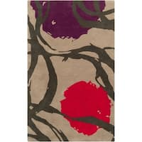 Hand-tufted Tan Opaque Floral Wool Area Rug - 5' x 8'