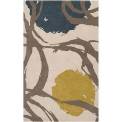 Hand-tufted Beige Opaque Floral Wool Area Rug (8' x 10') - 8' x 10' - Thumbnail 0