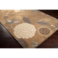 Harlequin Hand-tufted Brown Opaque Floral Wool Rug (8' x 10') - Thumbnail 1